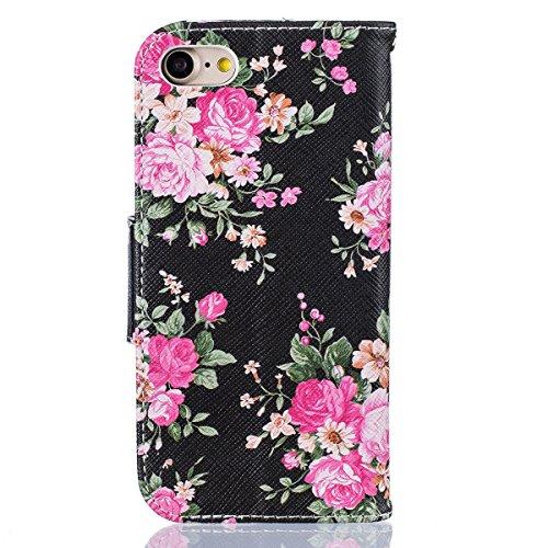 iPhone 7 Plus Schutzhülle,iPhone 7 Plus 2016 Lederhülle,JAWSEU Lanyard Schutzhülle für iPhone 7 Plus 5.5 Zoll,Elegante Retro Handyhülle Tasche Flip Cover Wallet Prägung Mädchen Katze Blumen Strap Must #Pink Blumen