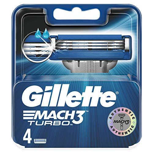 Gillette Mach3 Turbo Lamette di Ricambio per Rasoio, 4 Pezzi