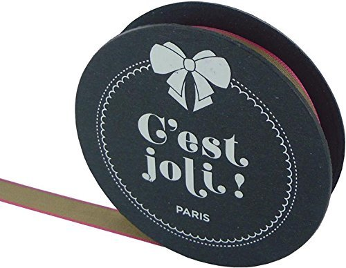 C'est Joli! Ruban Archipel Ribbon, 3/8 by 3.28-Yard, Beige/Pink by C'est Joli!
