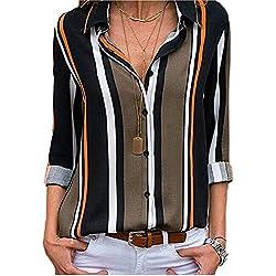 MORCHAN ❤ Chemisier Champion Femme Manches Longues Tunique Button Up Shirt Rayé Chemise Col V Top Chimie Blouse Mode Multicolore Chic Chemisier Classique Top(FR-40/CN-M,Noir-1)