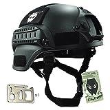 MICH 2000 Kampf Schutz Helm mit Seite Schiene & NVG Reittier schwarz für Airsoft Taktisch Militär Paintball Jagd