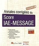 Annales corrigées du score IAE Message 2017...