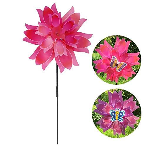 WDDqzf ornament Skulptur Dekoration Wind Spinner Blume Windmühle Doppelschicht Windrad Outdoor Garten Dekoration Home Yard Ornament Bunte Kinder Kinder Spielzeug Geschenke Rad (Weihnachts-ornament Cast Das)