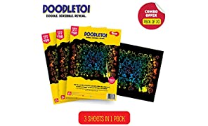 Toiing Doodletoi Return Gift Combo - 60 Magical Colourful Scratch Art Drawing Papers (20 Packs of Rs. 50)