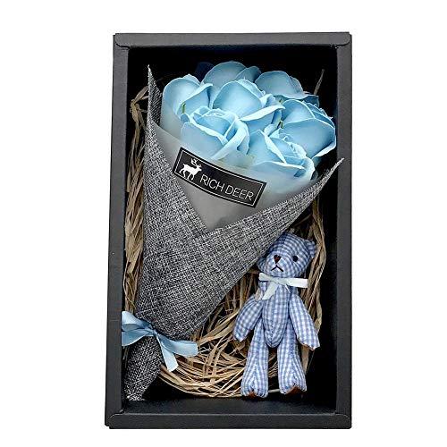 Wovemster Unechte Blumen,Seife Flower Box 7 Rose Bouquet Dekoration Ornament Valentinstag Hochzeitsblumenstrauß für Haus Garten Party Blumenschmuck(Blue)
