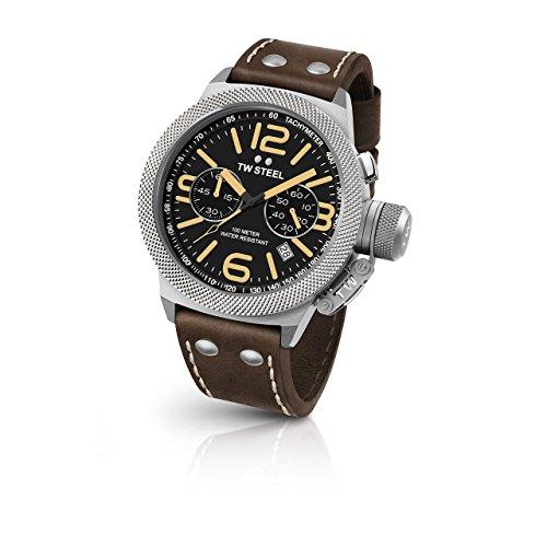 TW Steel Cs34pour homme Canteen Bracelet cuir Marron Band Cadran noir montre