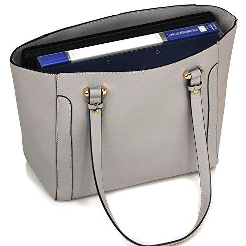 Trend Star woman designer handbag ladies fashion patent tote bag (D - Black / White) F - Grau