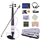 ammoon Violon Full Size 4/4 Solid Wood Électrique Silencieux Violon Fiddle Style-2 Ebony Fingerboard Pegs Chin Rest Tailpiece avec Bow Hard Case Tuner Casques Rosin Extra Strings & Bridge (blanc)