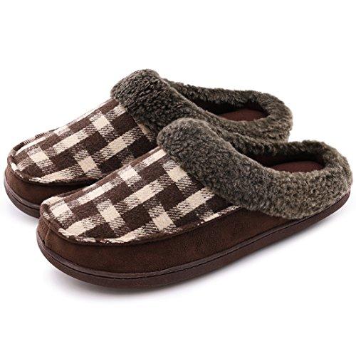 Zapatillas de estar en casa o para exteriores, lana y ante, con forro polar, para hombres, color Marrón, talla 44 EU-45 EU