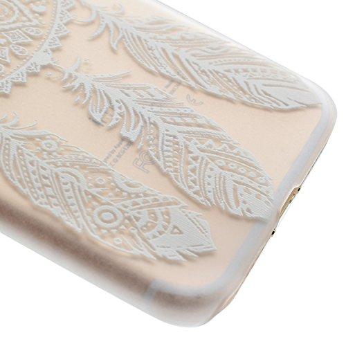 Custodia Cover iPhone 7/8 Bumper TPU Case, Ukayfe Trasparente Crystal Caso Cover Custodia Bumper Morbida TPU Silicone Gel Gomma Flessibile Sottile Fina Invisibile Ultra Thin Slim per iPhone 7/8 con St Bianco Dreamcatcher