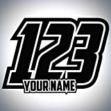 3 x Custom Race Number & Name Stickers - MX Bikes Karts Quads - Classic Style