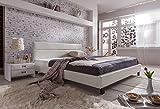 SAM® Polsterbett 180x200 cm Pellisima, weiß, Kopfteil im abgesteppten Design, Bett mit schwarzen Füßen