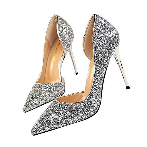 Beikoard-scarpa da donna estremamente sexy tacchi alti scarpe da donna scarpe con tacchi sottili scarpe da donna(argento,40)