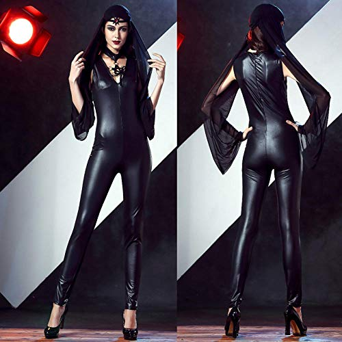 JRKJ Halloween-Kostüm _ Sexy Lackleder Geisteroverall Erwachsenen Hexenschleier Halloween Versuchung Weiblich (Spitze Lackleder Kostüm)