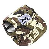 Sijueam Casquette de Baseball Chapeau à Mentonnière pour Petit Chien Chiot Chat Animaux, Toile Chapeau avec des trous d'oreille (Taille M, Camouflage)