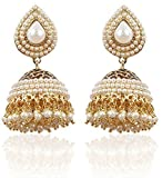 Shining Diva White Gold Plated Jhumki Ea...