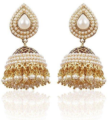 Shining Diva White Gold Plated Pearl Traditional Jhumki Earrings For Women &...