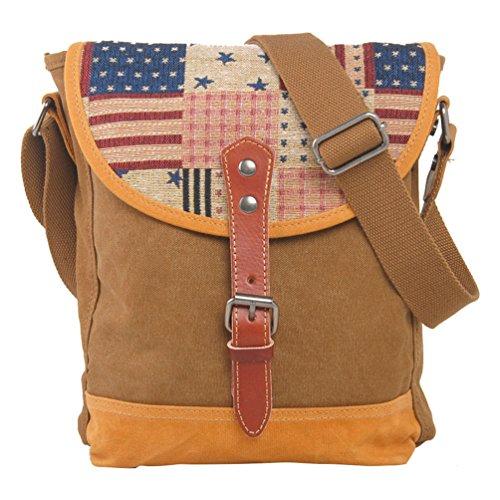 NiSeng Retro-Tasche amerikanische Flagge Schultertasche Persönlichkeit Umhängetasche Unisex Kaffee