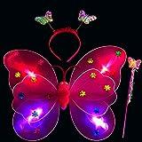 LED mariposa alas, 3pcs luz intermitente hada mariposa ala varita diadema disfraz juguete, perfecto para niños niñas en jardín de infancia, cumpleaños, Hallowmas Fiesta Disfraz, rojo rosado, Tamaño libre