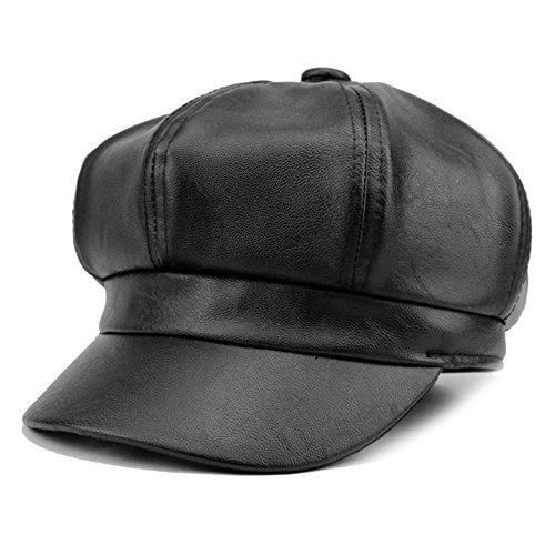 WETOO Schirmmützen Barett Leder Mütze Gatsby Newsboy Cap Kappe PU Baskenmütze für...