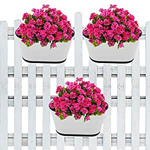 ecofynd® 10 inches Oval Balcony Railing Planter with Detachable Handle, Color - White, Set of 3