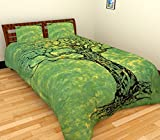 Indian Bettwäsche grün Baum des Lebens Doona Bezüge Ethnische Mandala Tapisserie Twin Size Bezug Baumwolle Überwurf Handgefertigtes Betten Set mit 1Kopfkissenbezug (Multi)
