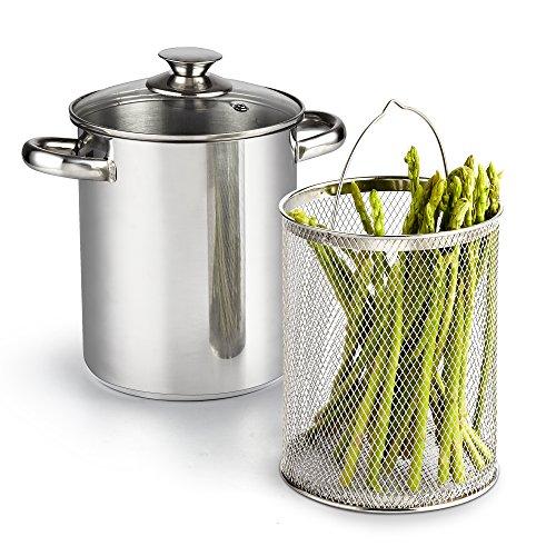 Cook N Home 24783Stück Spargel Gemüse Dampfgarer Topf, 4Quart, Edelstahl