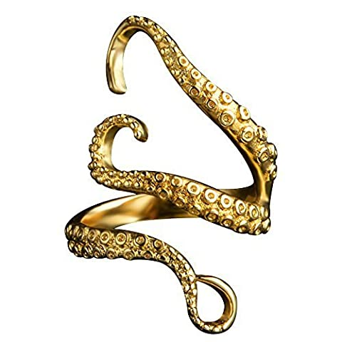 Samtlan Retro Octopus Clamps Titanium Steel Ring, Adjustable Ring Size for Men & Women Use Ornaments - Gold