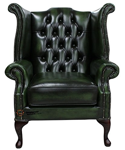 Chesterfield Queen Anne Ohrensessel Antik Grün Leder