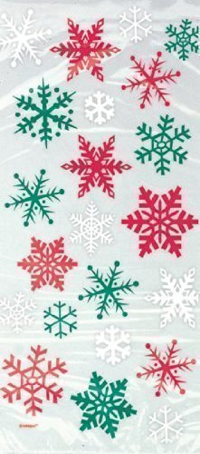Price comparison product image 20 Red & Green Snowflake Cellophane Sweet Display Bags