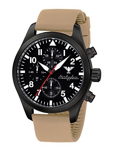 Airleader Black Steel Chronograph KHS Airbsc St Coated Stainless Steel IP Black Silicone Strap Tan, Khs Tactical Watch, Wrist Watch, Aviator Watch