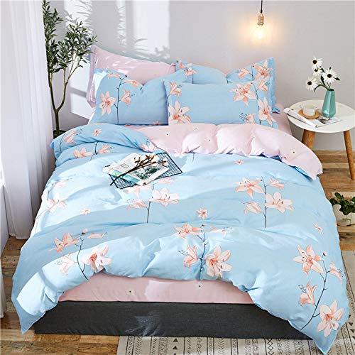yaonuli Baumwolle vierteiliger Bettbezug aus Baumwolltuch klare Blumensprache 1,8 m vierteiliges Set