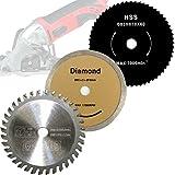 Mini sierra circular de mano Juego de 3Hoja de sierra HM MADERA/HSS Madera Fein/de diamante 85x 10mm para Apex/TIMBERTECH/Power Plus/Germania