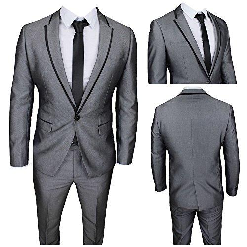 Abito uomo grigio super slim giacca e pantalone smoking vestito elegante cerimonia comunione (calza stretto 2 taglie in meno) (46)