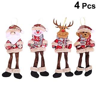 YeahiBaby 4 unids de Navidad de Juguete de Felpa Colgando Santa Claus muñeco de Nieve Reno Elk Doll árbol de Navidad Adornos Colgantes