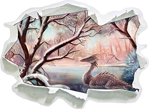 Drache im schneebedeckten Wald, Papier 3D-Wandsticker Wanddekoration 3D-Wandaufkleber Wandtattoo