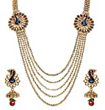 #7: Youbella Dancing Peacock Gold Plated Necklace Jewellery Set With Earrings For Women