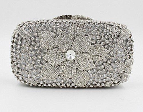 Damen Abendtasche Diamant-Inlay Diamant-Mappe Hand Bankett Tasche Kristall bohren voll color 6