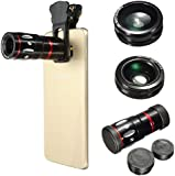 M.Way Universal 4 in1 Clip-on Cell Phone Camera Len Kit 10x Zoom Telephoto + 180° Fish Eye + 0.67 Wide Angle + Micro Clip Lens For iPhone 6S 6,Samsung,HTC and Other Smart Phone