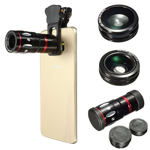 M.Way 4 in 1 Clip On Fisheye Fischauge Objektiv Kamera Adapter für iPhone 6S 6,Samsung,HTC,Ipad,Tablet PC,Laptops (180 Grad Fisheye Objektiv, 0.67X Weitwinkelobjektiv, 10X Makroobjektiv)