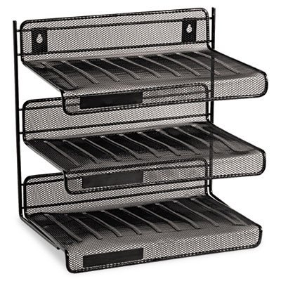 Rolodex Expressions Mesh 3 Tier Desk Shelf - 12.5 x 12.5 x 9.25 - 3 Tier(s) - Steel - Black by Rolodex