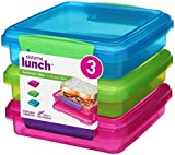 Sistema Lunch Sandwich Box with contrasting Clips, Green/Pink/Blue, 450 ml, Pack of 3