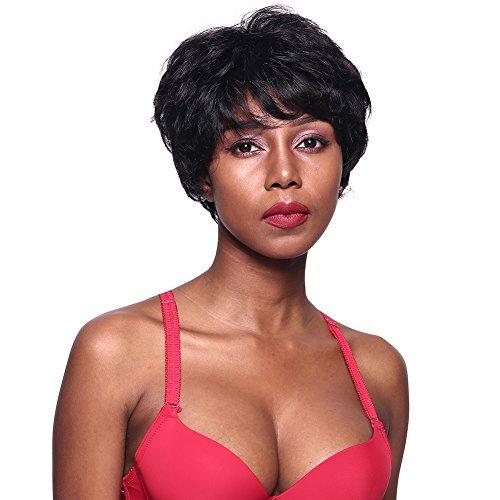 Parrucche bob 100% capelli umani ondulati corti per le donne nere parrucca nera naturale delle signore di remy buona garanzia (onda naturale)