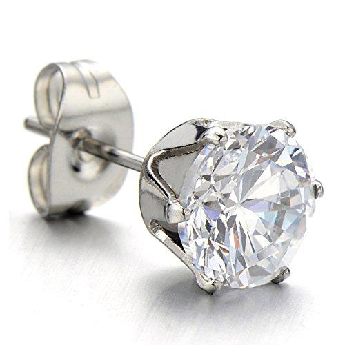 1 Paire 3MM-9MM Zircon Cubique - Clous d'oreille - Boucles d'oreilles Homme Femme - Acier Inoxydable - Couleur Argent Wide:7MM