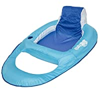 SwimWays Spring Float Recliner - Swim Lounger for Pool or Lake - Light Blue/Dark Blue