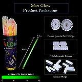 Max Glow 100 Bastoncini Luminosi di Alta qualità, a Lunga Durata, 8 – 12 Ore, Colori Misti, 100 connettori, Braccialetti, collane, Braccialetti tripli, Ideali per Feste