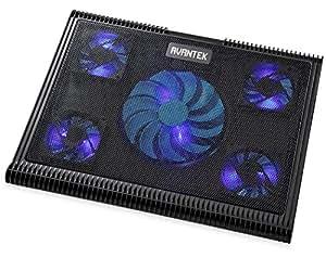 AVANTEK Base Sistema Ventola di Raffreddamento 15''-16'' con 5 Blu LED Ventilatore Appoggio Supporto Cooling Stand per PC Portatili Laptop Notebook, Raffreddamento rapido, Ultra-portatile