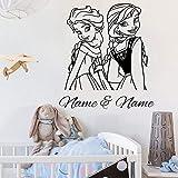 Pegatinas de pared 57x64cm Hermanas personalizadas Nombre y nombre de las niñas Elsa Anna Frozen Princesa Etiqueta de la pared Vinilo Decoración del hogar Guardería Calcomanía de la habitación de