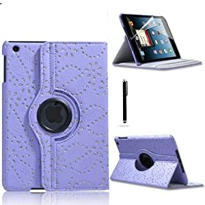 STYLEYOURMOBILE {TM} APPLE IPAD MINI PREMIUM QUALITY VARIOUS PU LEATHER MAGNETIC FLIP FOLIO STANDBY SKIN CASE COVER + SCREEN PROTECTOR + STYLUS (Lilac Diamond Flip)