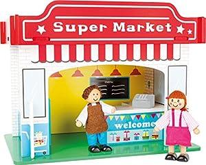 Small Foot 10853 - Supermercado de madera para enchufar, incluye muebles, dos muñecas flexibles y coloridos muebles impresos, construcción infantil, pequeño casa de muñecas adecuado para niños a partir de 3 años